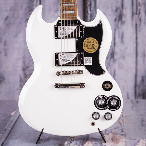 Epiphone G-400 Pro SG Electric Guitar, Alpine White, front closeup