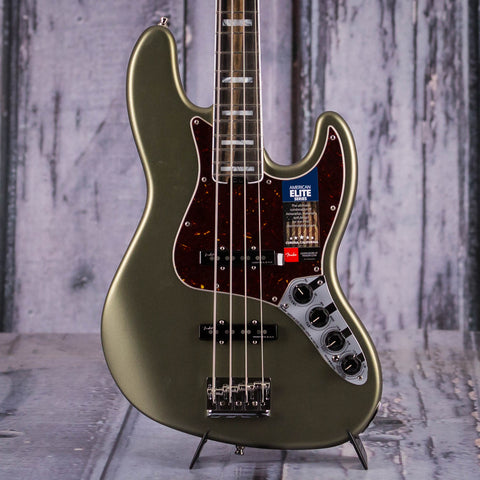 Fender American Elite Jazz Bass Guitar, Satin Jade Pearl Metallic, front closeup