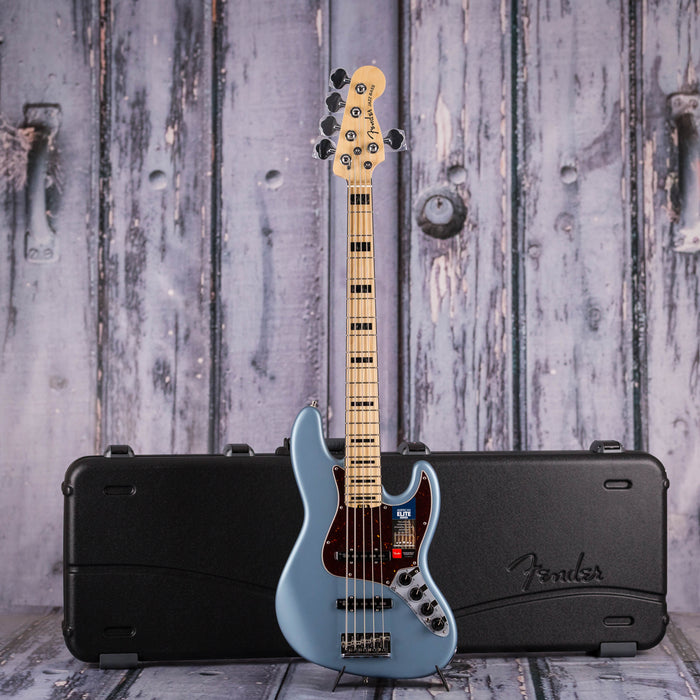 Fender American Elite V Jazz Bass, Satin Ice Blue Metallic