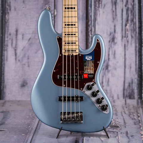 Fender American Elite V Jazz Bass Guitar, Satin Ice Blue Metallic, front closeup