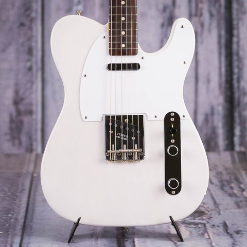 Fender Jimmy Page Mirror Telecaster Electric Guitar, White Blonde, front closeup