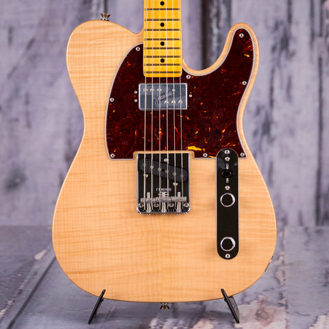 Fender Rarities Flame Maple Top Chambered Telecaster Electric Guitar, Natural, front closeup