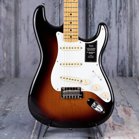 Fender Vintera '50s Stratocaster Modified Electric Guitar, 2-Color Sunburst, front closeup