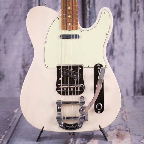 Fender Vintera '60s Telecaster Bigsby Electric Guitar, White Blonde, front headstock