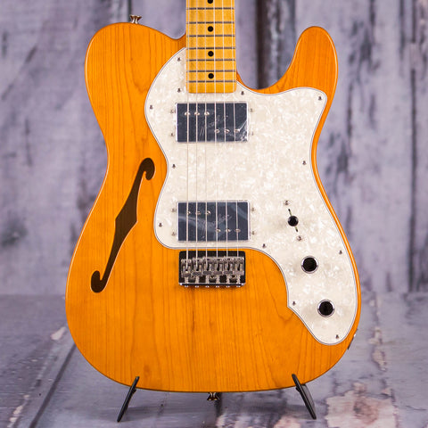 Fender Vintera '70s Telecaster Thinline Semi-Hollowbody Electric Guitar, Aged Natural, front closeup