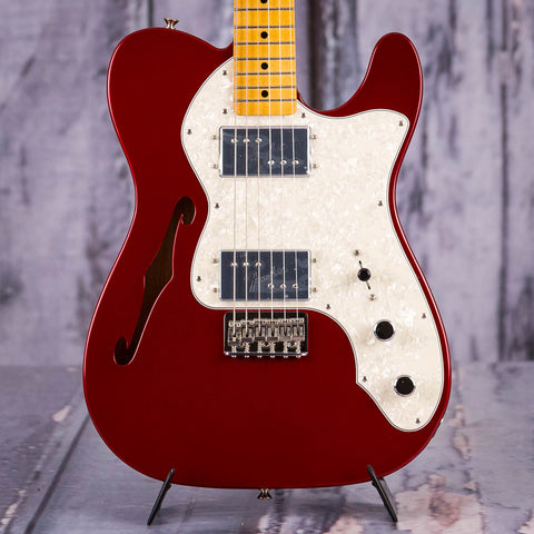 Fender Vintera '70s Telecaster Thinline Semi-Hollowbody Electric Guitar, Candy Apple Red, front closeup