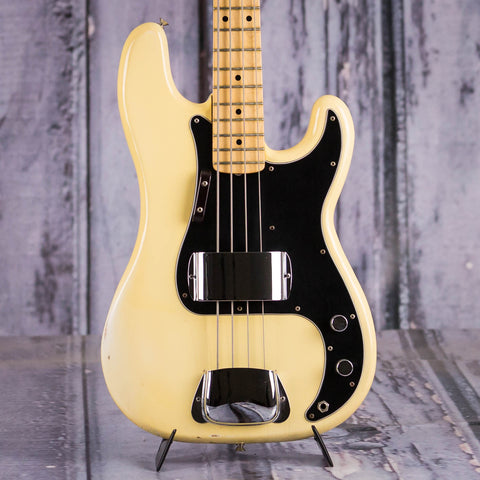 Vintage Fender Precision Bass Guitar, 1978, White, front closeup