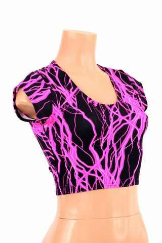 Pink Lightning Cap Sleeve Crop - Coquetry Clothing