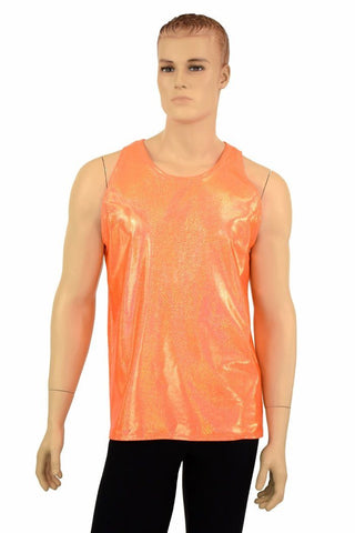 Mens Orange Sparkly Jewel Muscle Tank - Coquetry Clothing