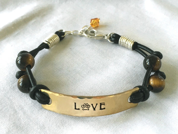 Black Leather Bracelet with Tigers Eye Beads