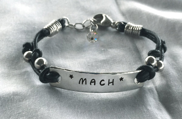 Black Leather Bracelet with Sterling Silver Beads