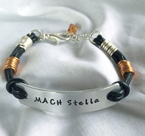 Black Leather Bracelet with copper and silver wire