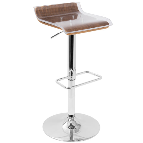 2-Tier Barstool Walnut, Clear