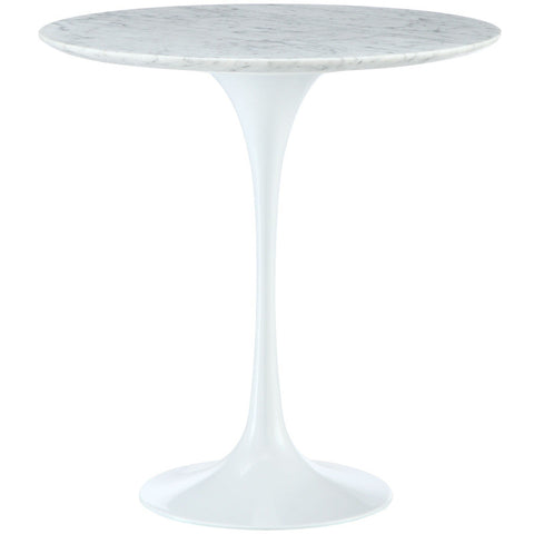 "20"" ROUND SAARINEN STYLE CARRARA MARBLE TULIP SIDE END TABLE CAST ALUMINUM BASE"
