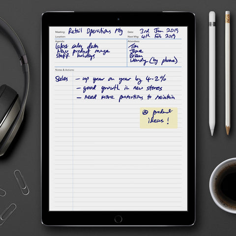 Meeting Notes template for paperless use on iPad or tablet