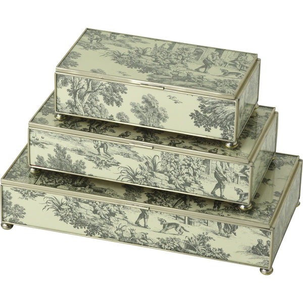 Black Toile rectangular stacking 3 box set