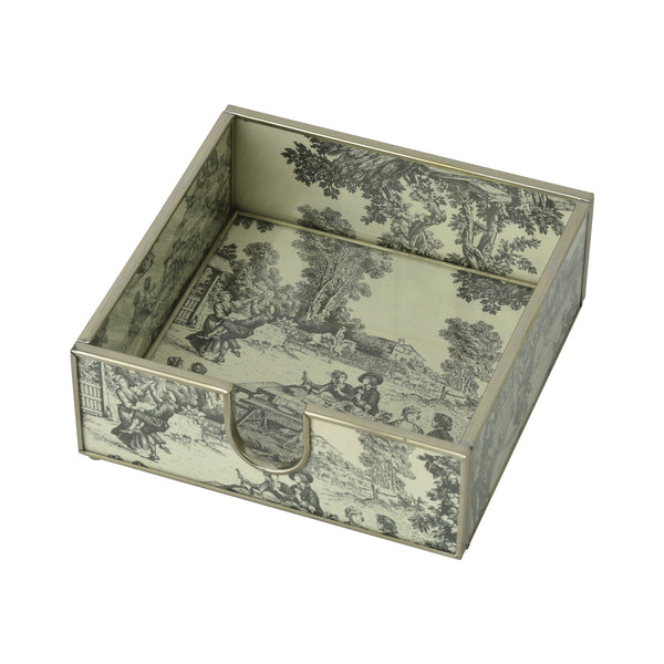 Black Toile cocktail napkin holder
