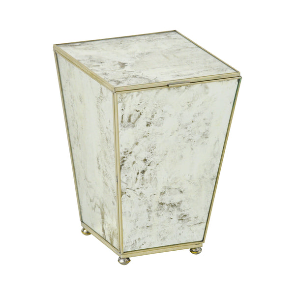 Antique Mirror Mini Waste Bin With Top