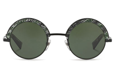 Alain Mikli - A04003 Sunglasses Matte Black/Chevron Green