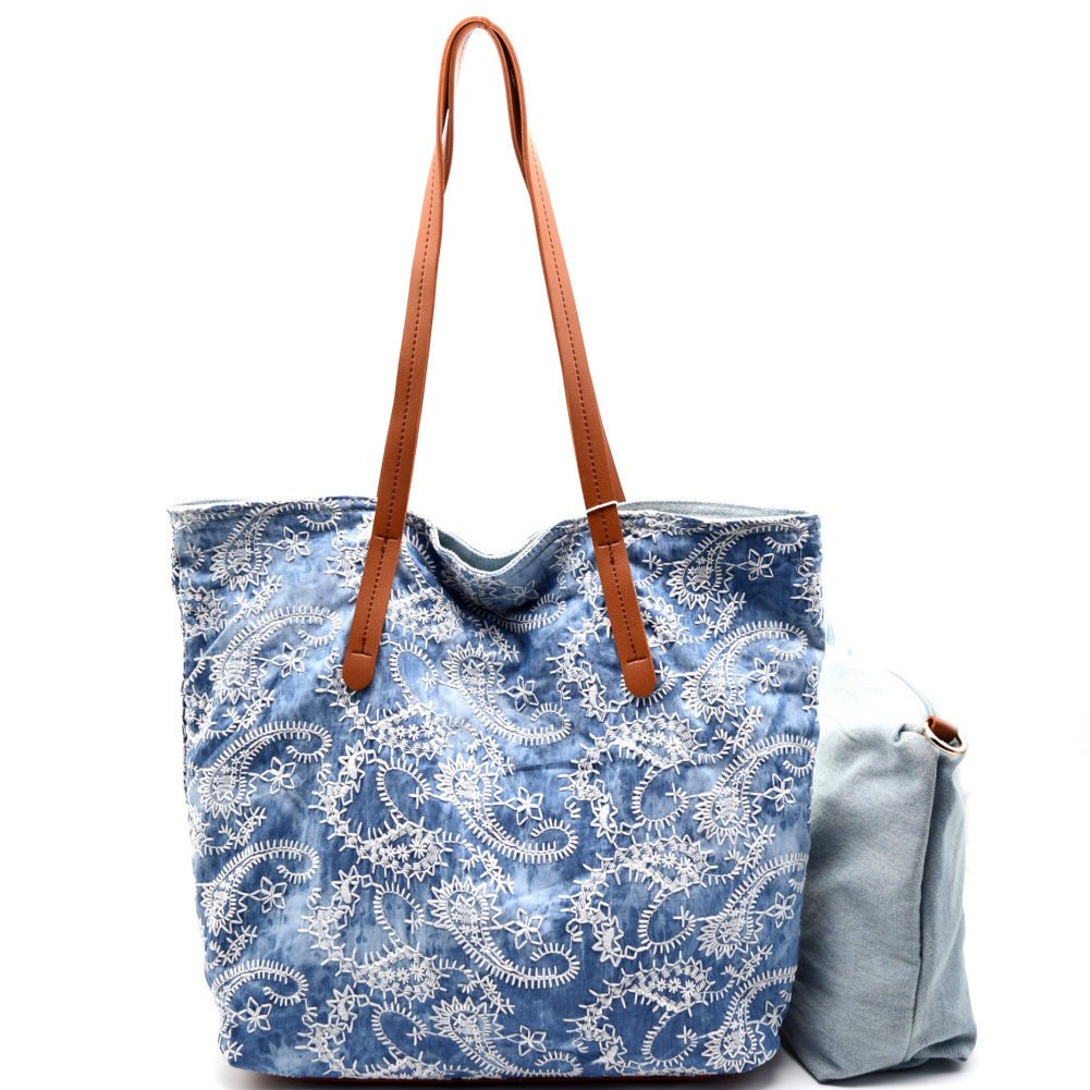 Handbag Republic Reversible Paisley Shopper w/Pull-out Crossbody- Denim Light