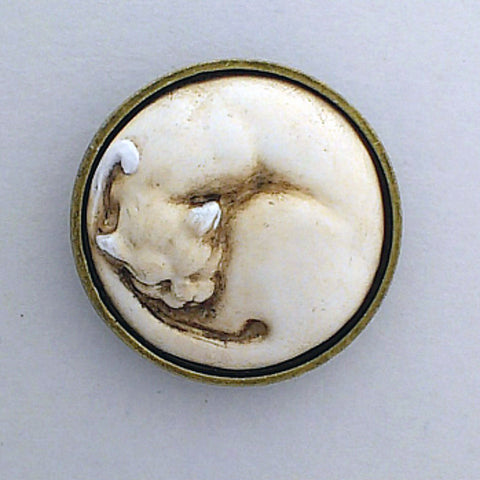 Curled Cat Brooch/Pin