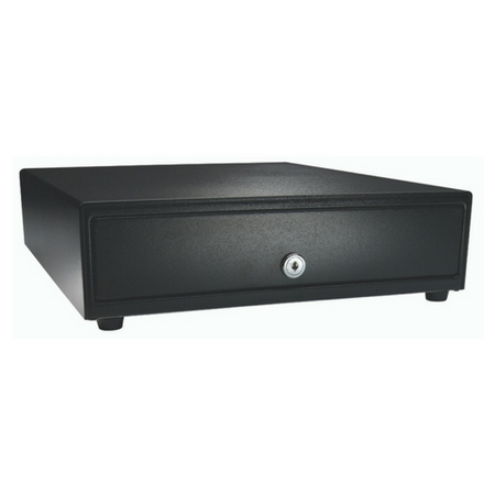 Vasario™ Series Cash Drawer: 1416~Drawer Front Style: Painted drawer front (non-media); Interface Type: MultiPRO® 24 V; Color: Black; Size (W x D x H): 13.8in. x 16.3in. x 4.0in.; Options: Adjustable 4x8 Till, Keyed Randomly