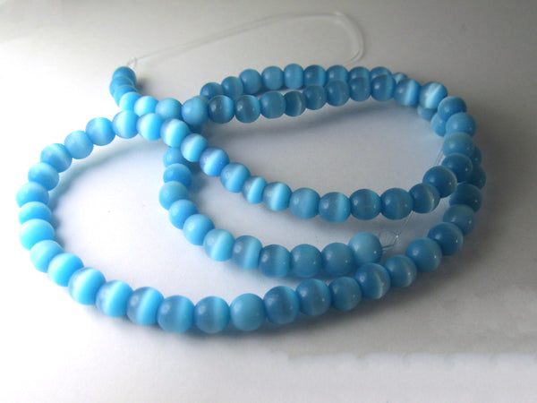 Cats Eye Blue Aquamarine Turquoise 5mm Round Glass Jewelry Beads - Full Strand-Jewelry Beads-Odyssey Cache