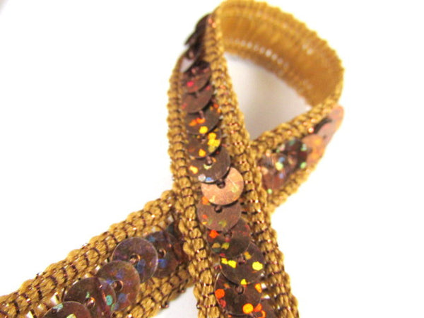Holographic 1/2 Inch Sequined Trim with AB Thread Edge in 12 colors-Trims-Brown Rust-Odyssey Cache