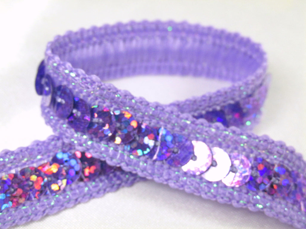 Holographic 1/2 Inch Sequined Trim with AB Thread Edge in 12 colors-Trims-Lavender-Odyssey Cache