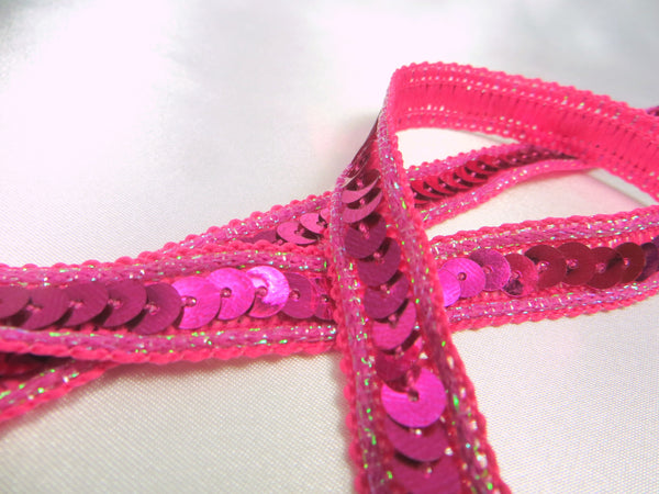 Holographic 1/2 Inch Sequined Trim with AB Thread Edge in 12 colors-Trims-Fuchsia Pink-Odyssey Cache
