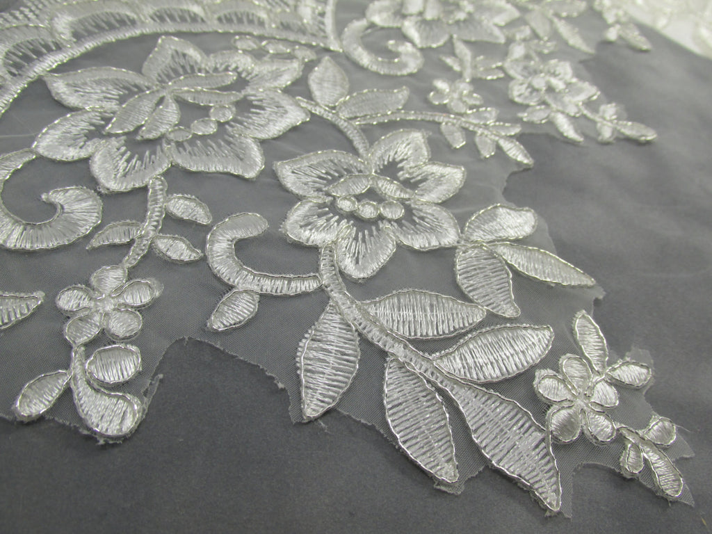 Off White Platinum 8 Inch Floral Bridal Lace Trim - Odyssey Cache