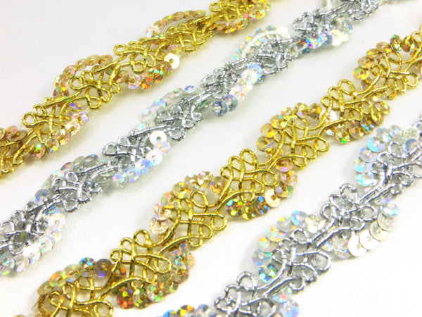 Gold or Silver AB 1/2 inch (12mm) Wavy Scalloped Sequined Trim-Trims-Odyssey Cache