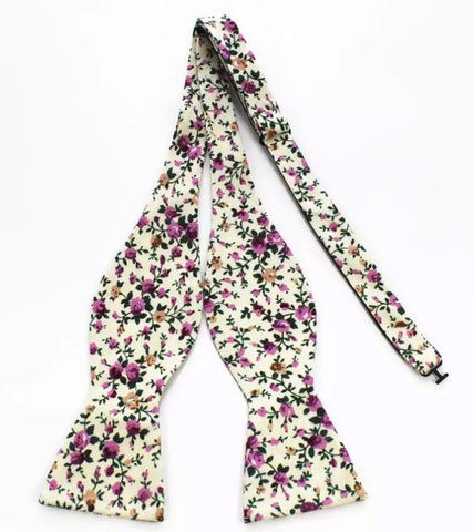 Cream and Purple Floral Bow Tie
