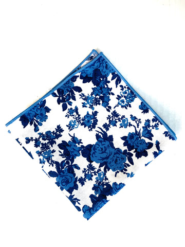 G+Co. Navy and Carolina Blue Floral Pocket Square
