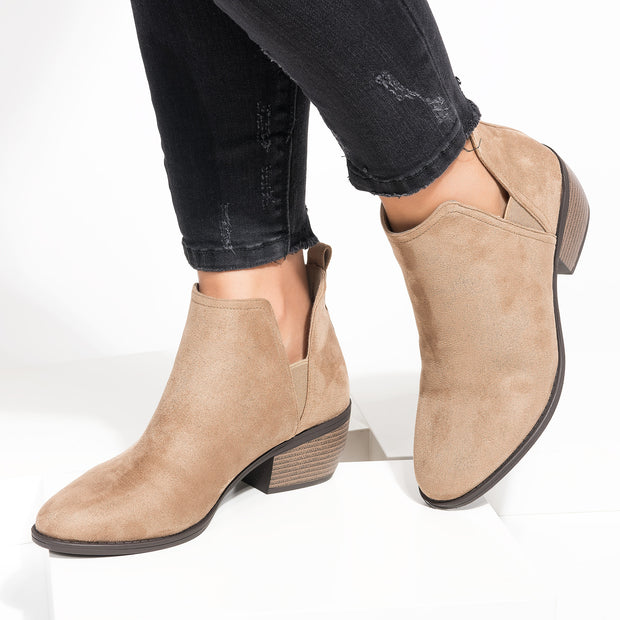 Victoria Cutout Taupe Booties