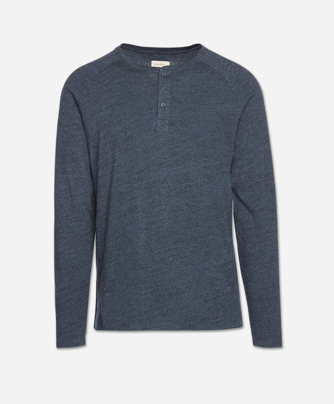 Long Sleeve League Henley - Heather Blue Blood