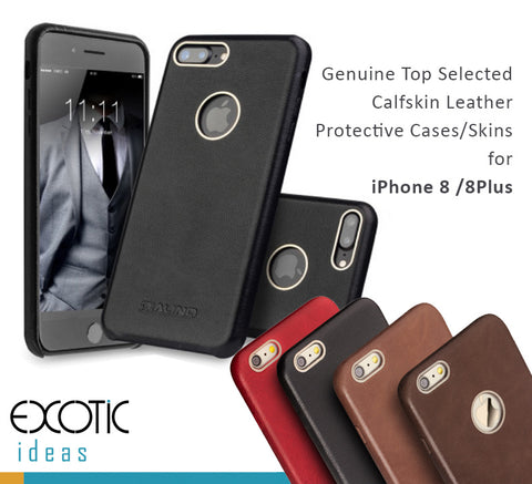 Genuine Calfskin Leather Cases/Skins for iPhone 8, iPhone 8 Plus, Free Gift - Tempered Glass Film