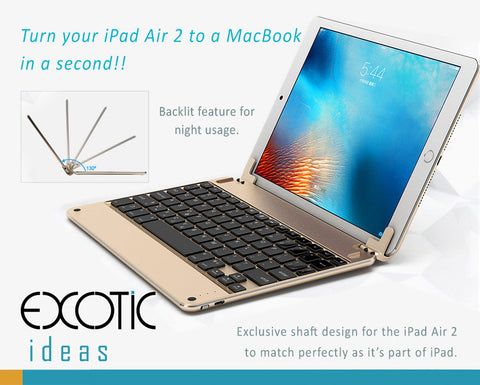 "Illuminating 7 Colors Backlit Bluetooth Keyboard for iPad Air 1,2, The new 9.7"" and iPad Pro 9.7"". Turn your iPad to a MacBook."