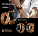 Genuine Leather Watch Bands/Straps for Apple Watch 4, 3, 2, 1 Single Loop, Double Loop Strap and Bracelet. 3 bands in One Set,