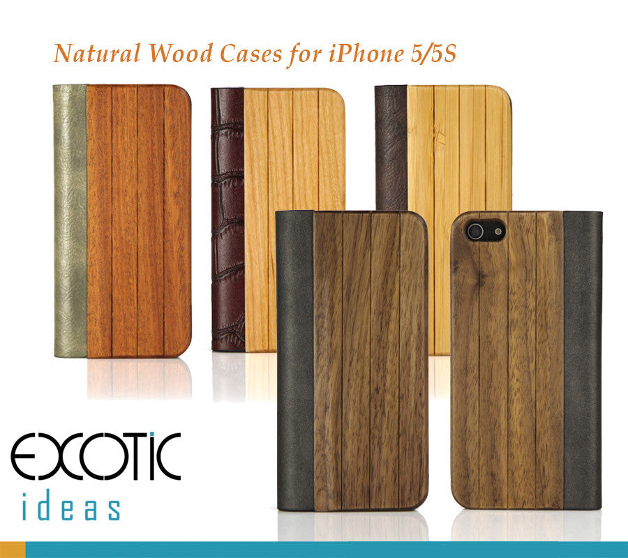 Wood+PU Leather Cover for iPhone 5/5S-Superior hand-polished- Sandalwood, Walnut, Cherry, Bamboo