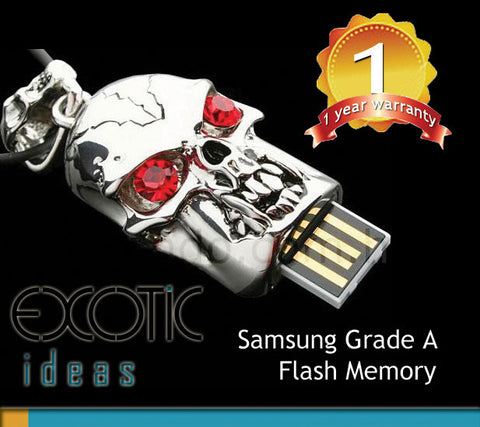 64GB SIM + Hyundai USB 3.0 USB Flash Memory Stick with Silver Skull with Red Crystal Eyes