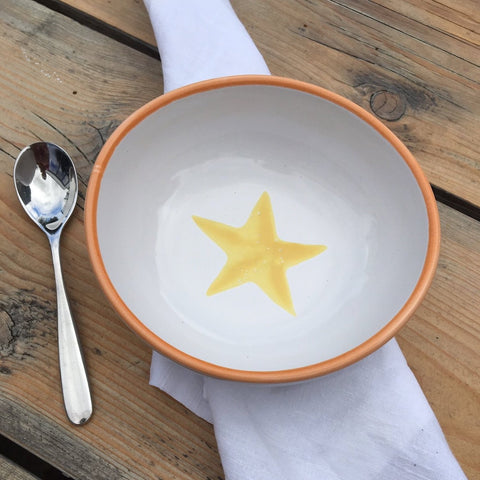 Ceramic children's bowl - orange and yellow