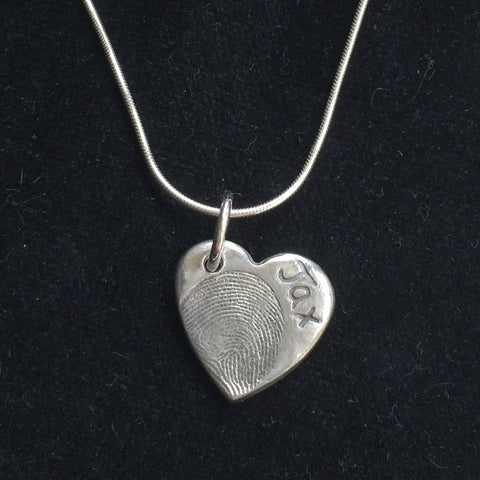 Fingerprint Small Heart Necklace