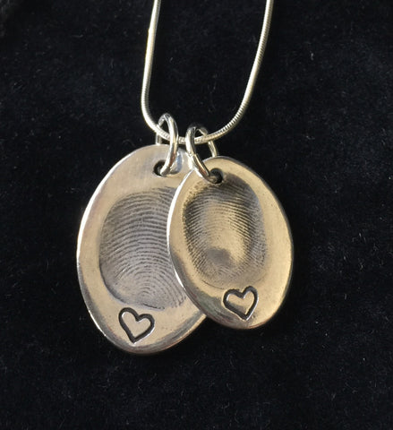 Double Oval Fingerprint Necklace