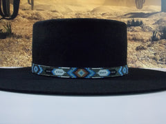 Native American Beaded Patina Diamond Feather Hat Band