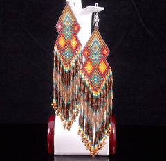 The Santa Fe Native American Beaded Double Diamond Earrings