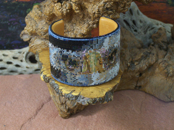 Eagle Eyes Feather Native American Beaded Cuff Bracelet