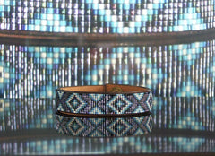Diamondback Native American Beaded Leather Bracelet