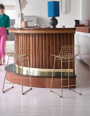 Metal Framed Bar Stool in Gold