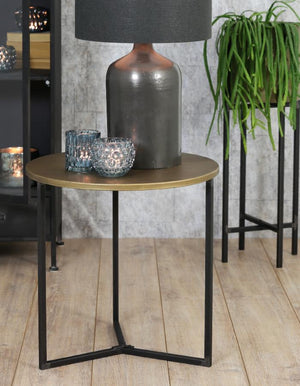 Bronzed Top Round Side Table